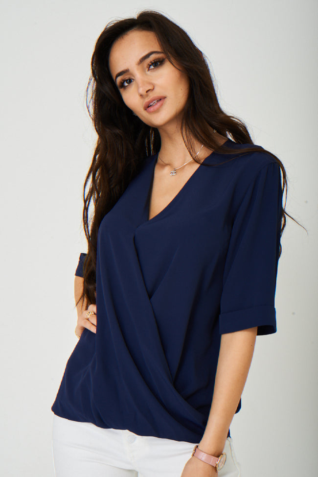 Wrap Front Navy Blouse Ex Brand-Fabulous Bargains Galore