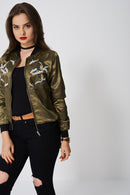 Light Bomber With Embroidered Birds-Fabulous Bargains Galore