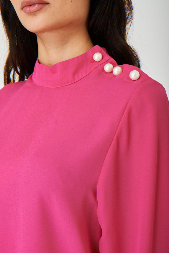 Jothirty Pink Top with Pearl Buttons-Fabulous Bargains Galore