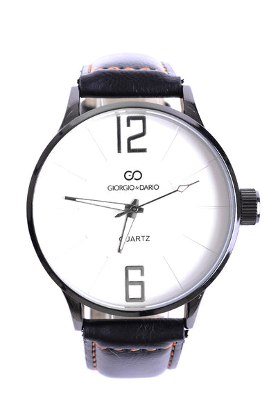 Unisex Faux Leather Classic Watch In Black