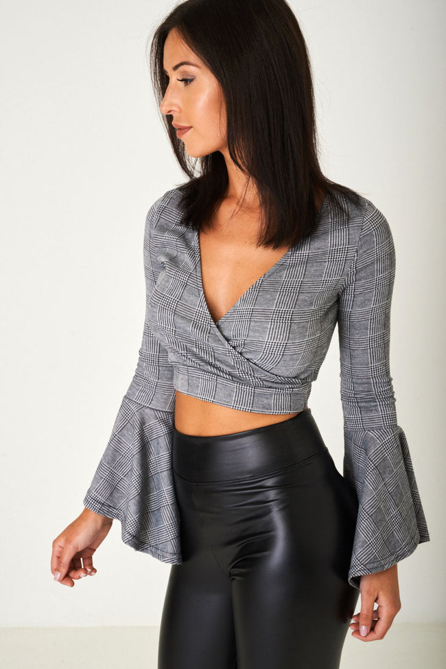 Crop Top in Prince of Wales Grey Check Ex Brand-Fabulous Bargains Galore