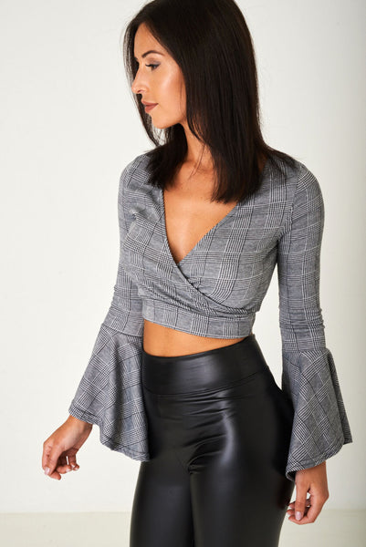 Crop Top in Prince of Wales Grey Check Ex Brand