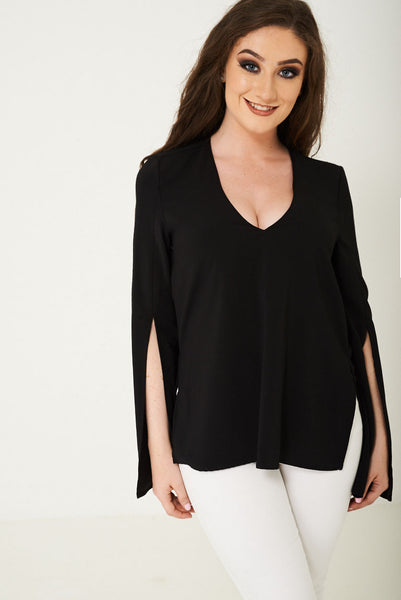 Split Sleeve Top in Black Ex Brand