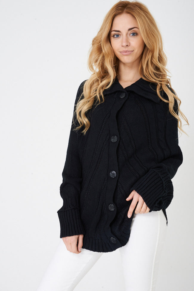 Black Chunky Cable Knit Poncho-Fabulous Bargains Galore