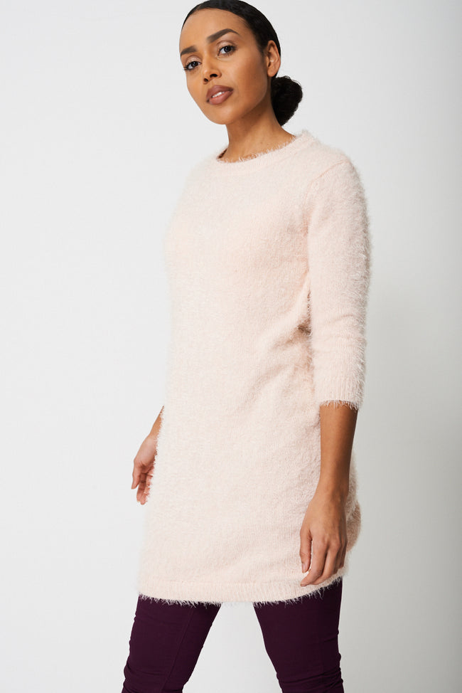 Fluffy Jumper Dress in Sweet Pink-Fabulous Bargains Galore