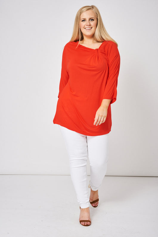 Ruched Front Top In Red-Fabulous Bargains Galore