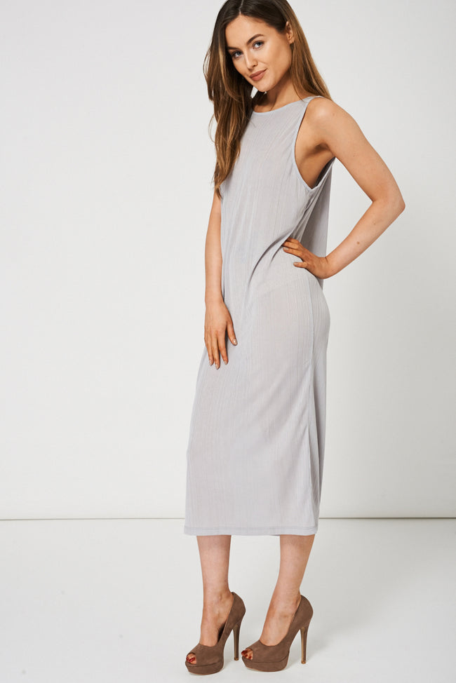 Grey Shimmer Pleat Dress-Fabulous Bargains Galore