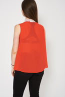 Orange Top With White Lace Detail-Fabulous Bargains Galore