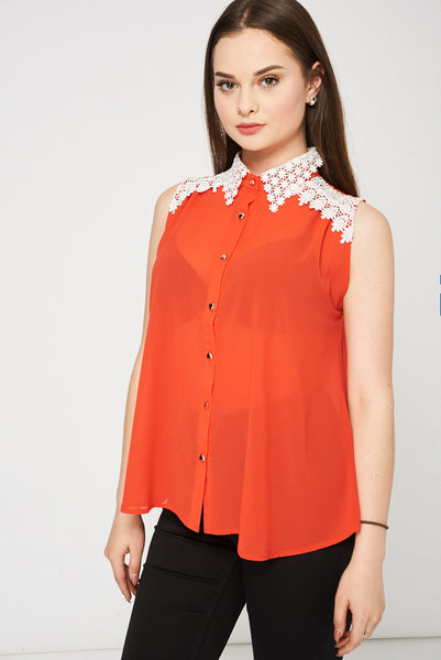 Orange Top With White Lace Detail