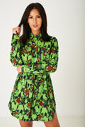 Floral Print Shirt Dress in Green-Fabulous Bargains Galore