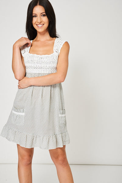 Summer Dress With Crochet Detail Ex-Branded Available In Plus Sizes