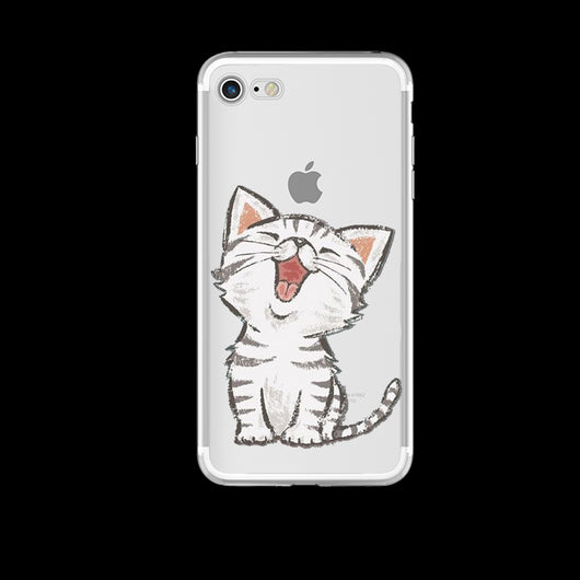 Cat Design Soft Ultra Thin Transparent iPhone 7 Case-Fabulous Bargains Galore