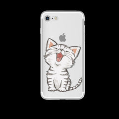 Cat Design Soft Ultra Thin Transparent iPhone 7 Case