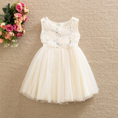 Cream Bridesmaid Sequin Party Dress