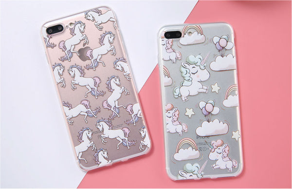 Cute Unicorn Print Soft Silicon Transparent iPhone 7 Case