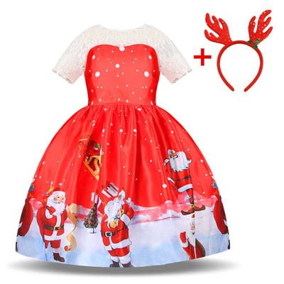 Cute girls christmas print dress 3-10 years-Fabulous Bargains Galore