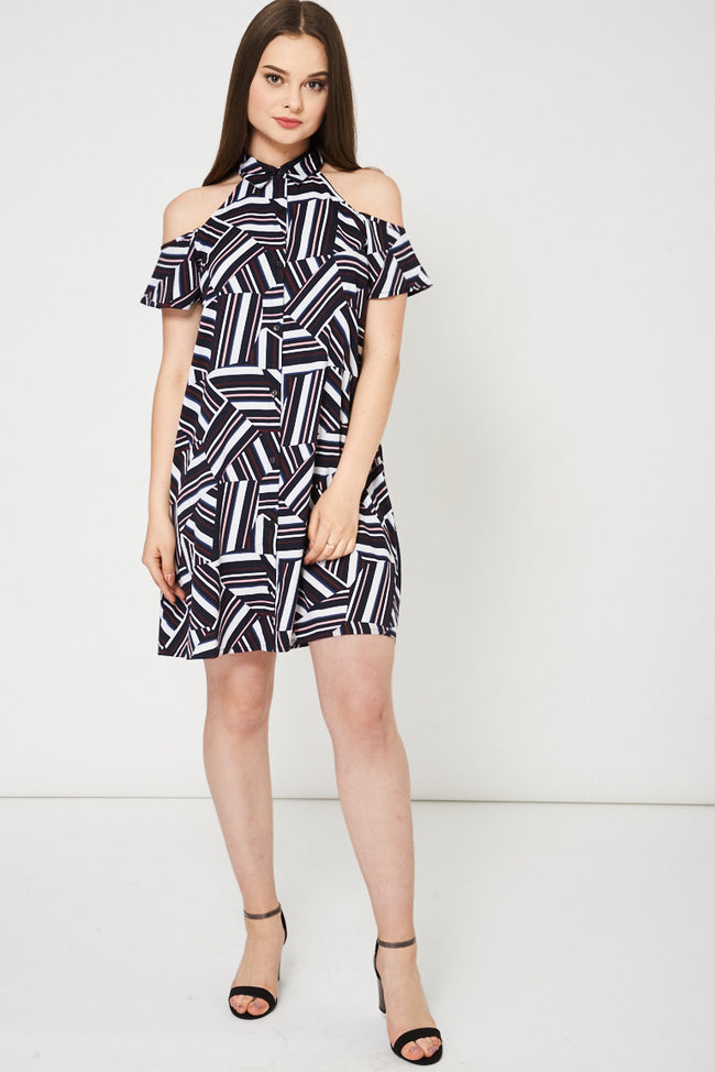 Abstract Pattern Cold Shoulder Swing Dress-Fabulous Bargains Galore