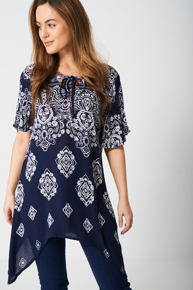 Paisley Tunic Top with Moon Hemline-Fabulous Bargains Galore
