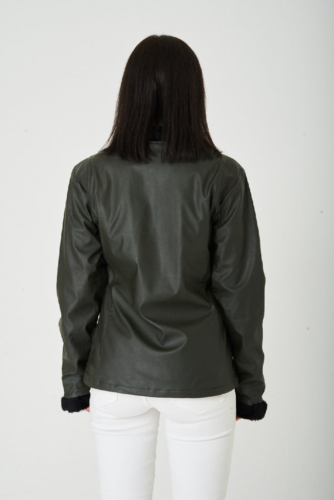 Dark Khaki Faux Leather Jacket-Fabulous Bargains Galore