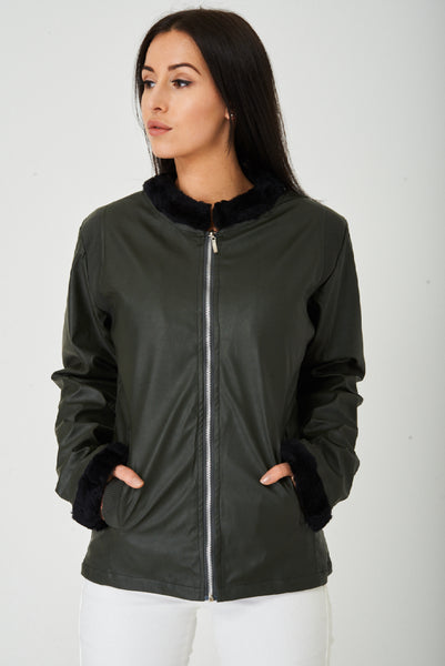 Dark Khaki Faux Leather Jacket