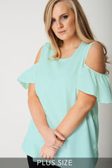 Cold Shoulder Top in Mint Green