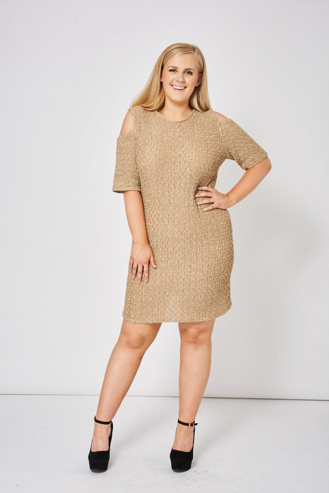 Beige Cold Shoulder Textured Dress-Fabulous Bargains Galore
