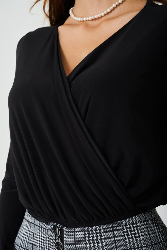 Slinky Wrap Front Bodysuit In Black Ex Brand-Fabulous Bargains Galore