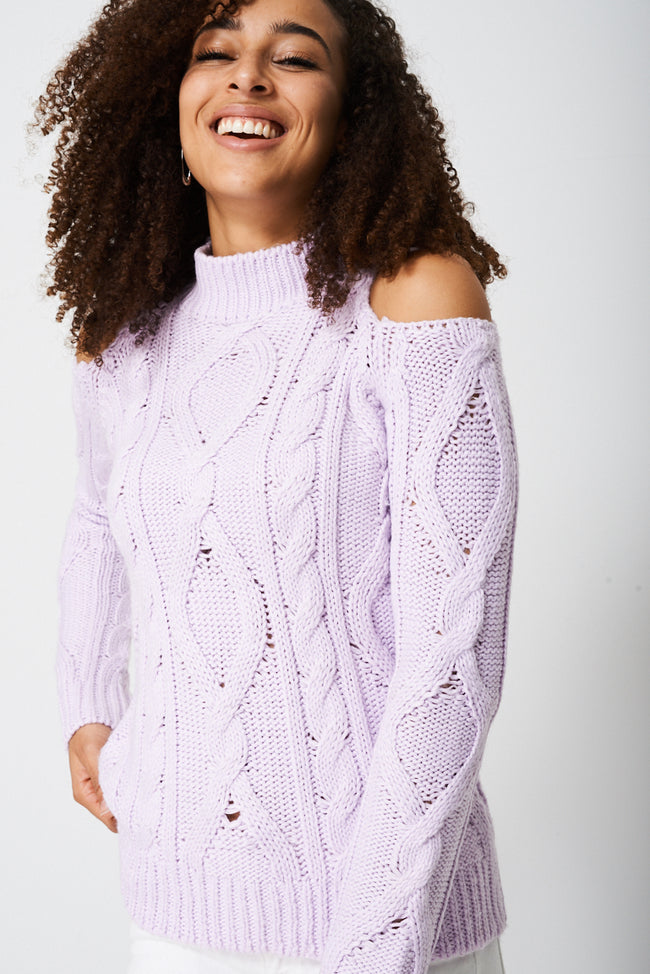 Cold Shoulder Chunky Knit Jumper-Fabulous Bargains Galore