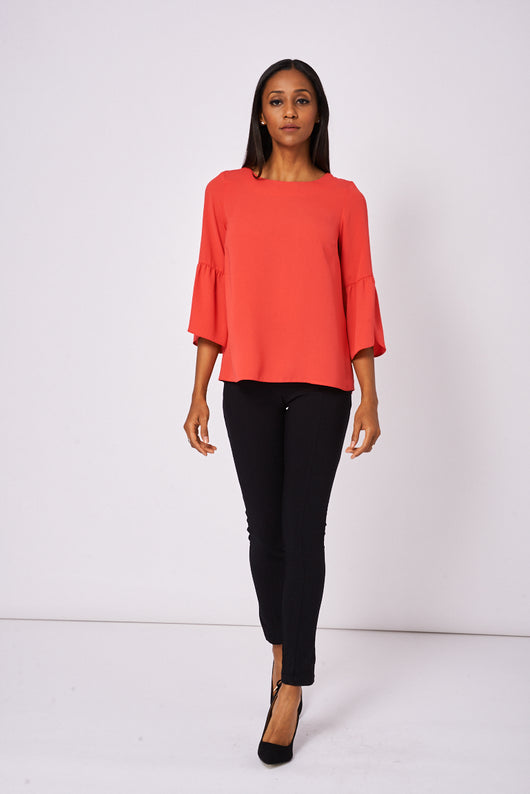 Frill Sleeve Coral Top Ex-Branded Available In Plus Sizes - Fabulous Bargains Galore