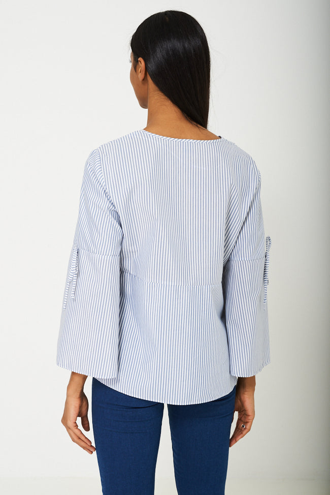 Volume Sleeve Blouse in Blue-Fabulous Bargains Galore