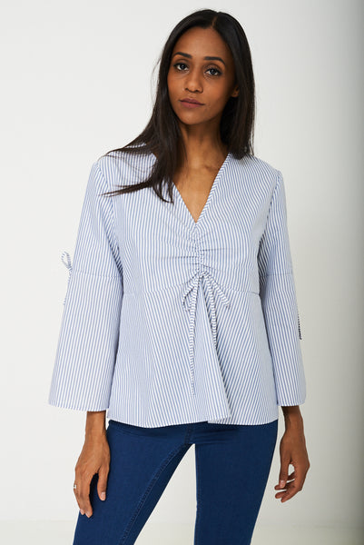 Volume Sleeve Blouse in Blue