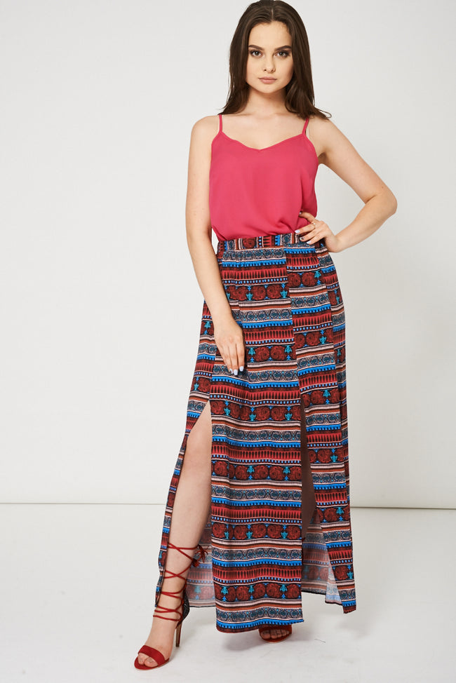 Abstract Pattern Split Front Maxi Skirt Ex-Branded Available In Plus Sizes-Fabulous Bargains Galore