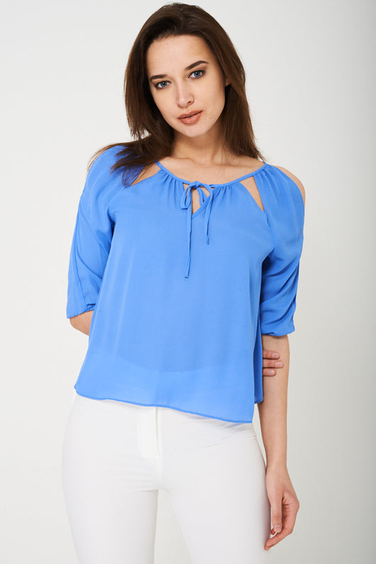 BIK BOK Cold Shoulder Top in Blue-Fabulous Bargains Galore