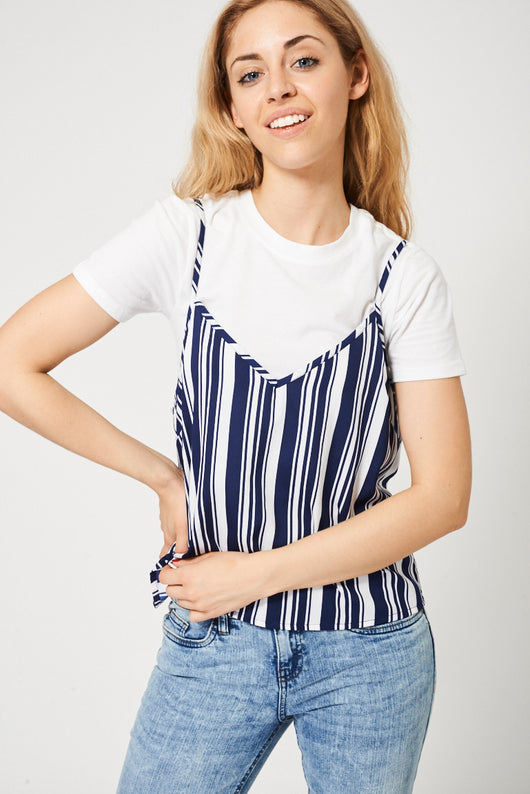 White T-Shirt With Striped Cami-Fabulous Bargains Galore