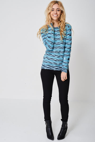 Stripe Mohair And Knit Jumper Ex-Branded