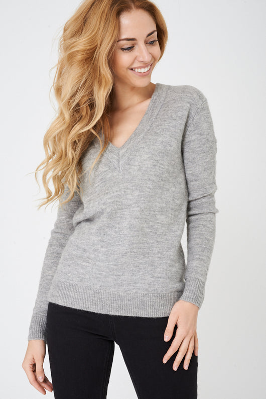 BIK BOK Soft Knit V-Neck Jumper in Grey-Fabulous Bargains Galore