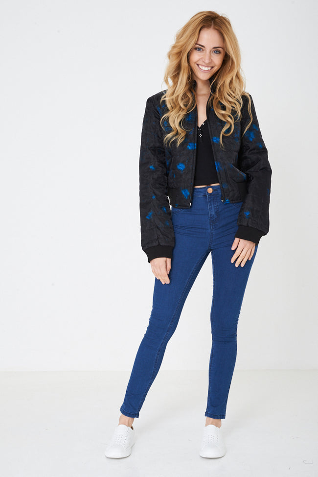 Black Bomber Jacket with Blue Real Feather Insert-Fabulous Bargains Galore