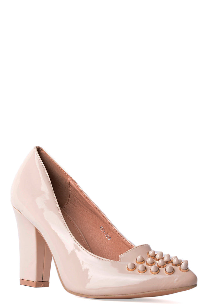 Studded Pointed Heels in Beige-Fabulous Bargains Galore