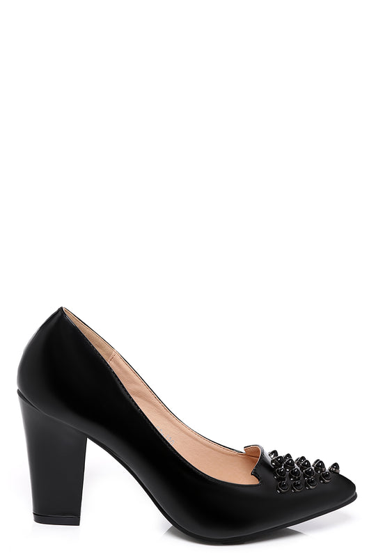 Studded Pointed Heels in Black-Fabulous Bargains Galore