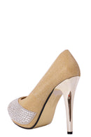Peep Toe Embellished High Heels in Gold - Fabulous Bargains Galore