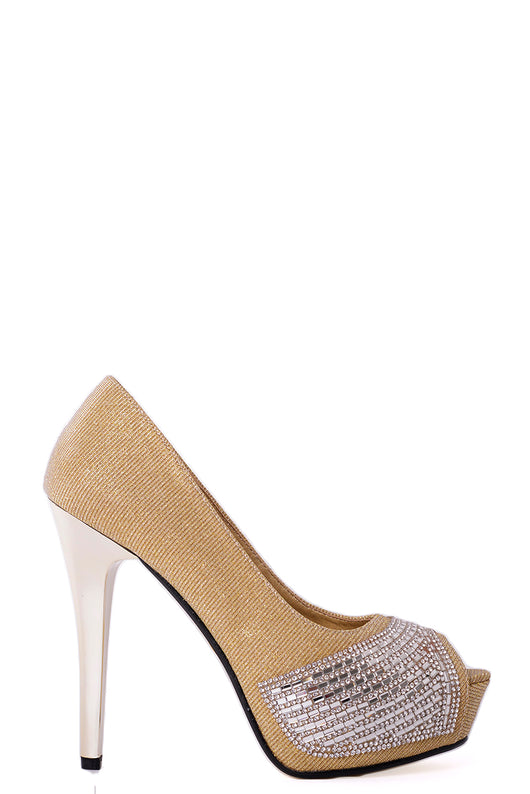 Peep Toe Embellished High Heels in Gold-Fabulous Bargains Galore