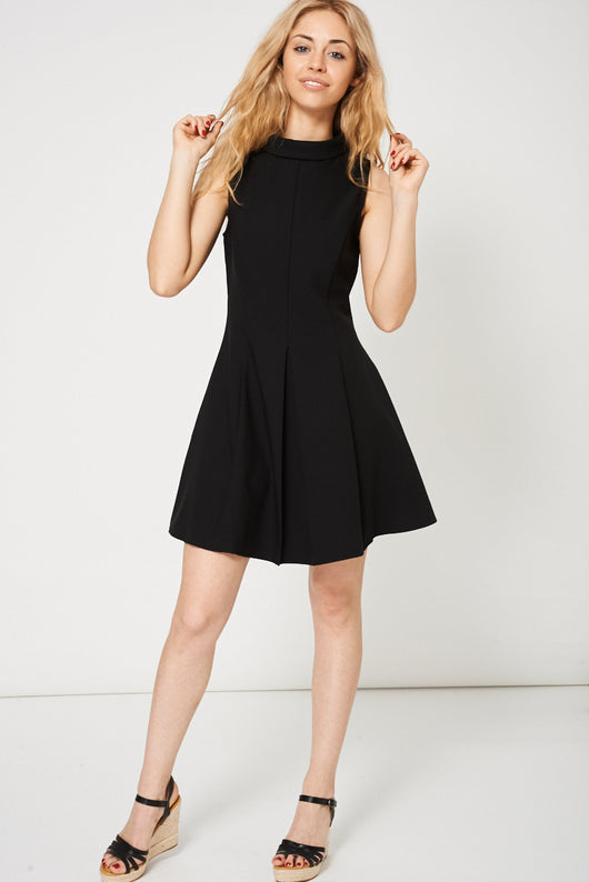 High Neck Skater Dress In Black-Fabulous Bargains Galore