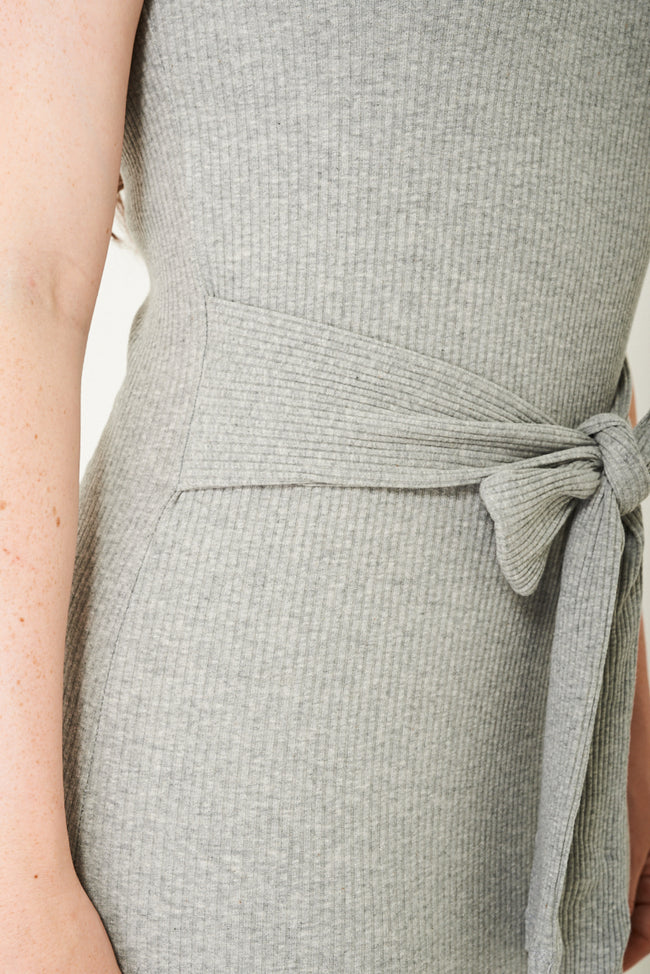 High Neck Bodycon Dress in Light Grey-Fabulous Bargains Galore
