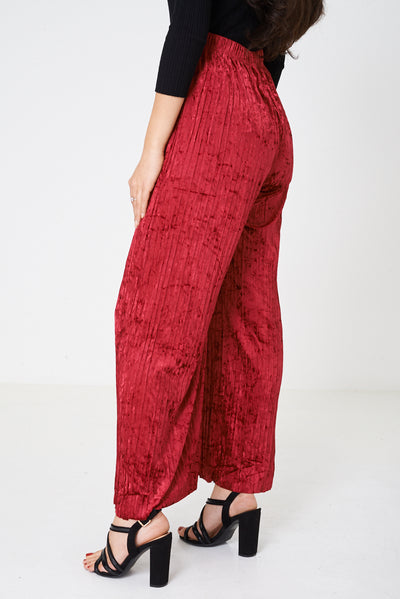 Crushed Velvet Burgundy Wide Leg Trousers-Fabulous Bargains Galore