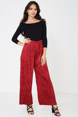 Crushed Velvet Burgundy Wide Leg Trousers