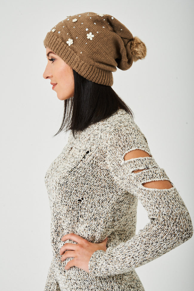 Embellished Mocha Beanie Hat-Fabulous Bargains Galore
