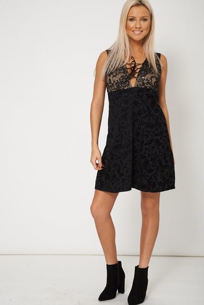 Textured Sleeveless Plunge Dress With Lace And Sequin Details