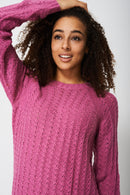 Longline Textured Jumper In Hot Pink-Fabulous Bargains Galore