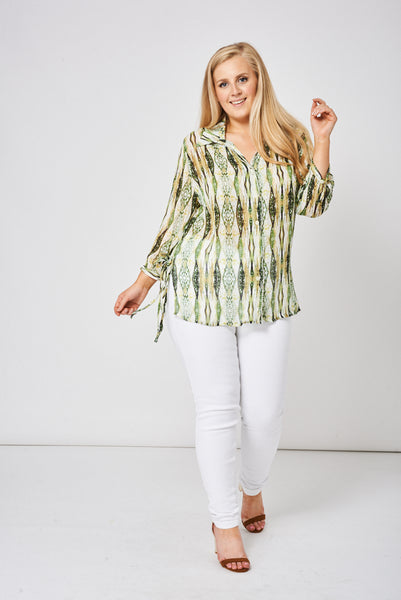 Green Belted Shirt With Lurex Cable Detail