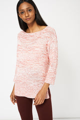 Red And White Crop Sleeve Jumper Ex-Branded Available In Plus Sizes